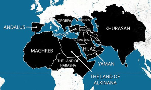 A map purportedly showing the areas ISIS plans to have under its control within five years  Read more: http://www.dailymail.co.uk/news/article-2676347/ISIS-leader-calls-Muslim-to-territory-group-seized-build-Islamic-state.html#ixzz36Ey5NgRQ  Follow us: @MailOnline on Twitter | DailyMail on Facebook